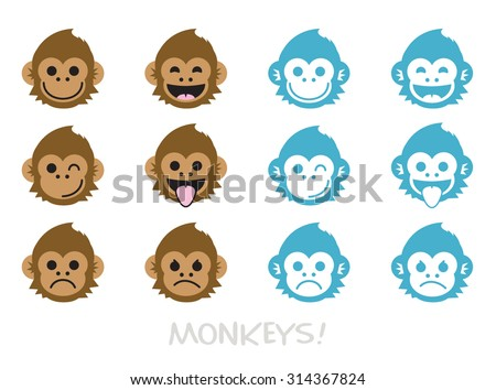 Monkey faces, emoticons