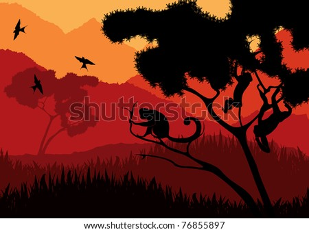 Monkey family in wild africa landscape - stock vector