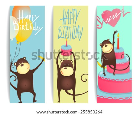 Monkey Fun Cards with Birthday Lettering. Congratulating cheerful monkey flyers. Vector illustration EPS10. - stock vector