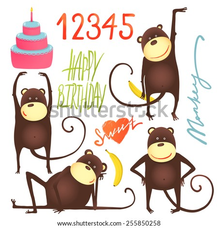 Monkey Fun Cartoon in Poses with Birthday Lettering. Dancing and playing amusing monkey. Vector illustration EPS10. - stock vector