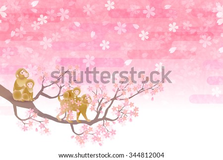 Monkey greeting cards cherry background