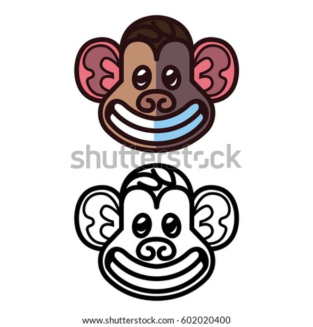 Monkey head logo template - vector illustration for mascot tattoo or t-shirt design