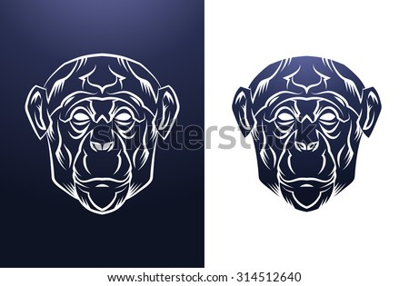 Monkey Head Vintage label. Retro vector design graphic element. This is vector illustration ideal for a mascot and tattoo or T-shirt graphic.
