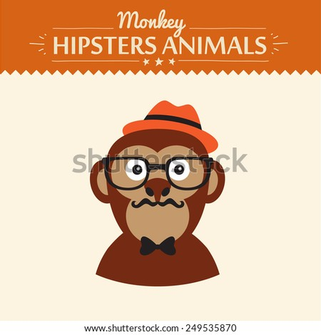 Monkey hipster illustration flat concept vector illustration - stock vector