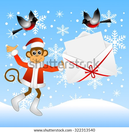 Monkey holding an envelope with a sheet of paper, vector illustration