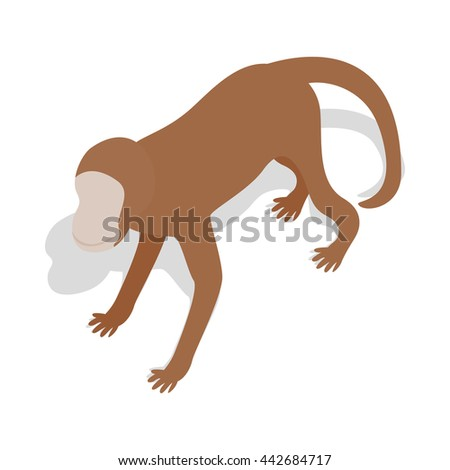 Monkey icon in isometric 3d style on a white background