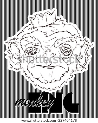 Monkey in a crown - stock vector