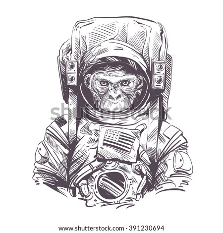 Monkey in astronaut suit. Hand drawn vector illustration