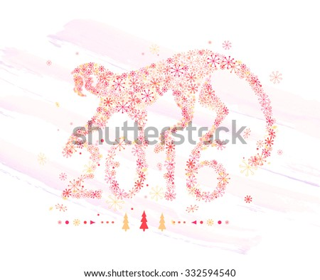Monkey of snowflakes / decorative symbol of the new year /  chimpanzee - stock vector
