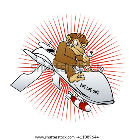 monkey on a drone cartoon vector illustration
