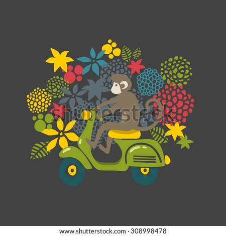 Monkey on the vintage scooter. Cute vector illustration with flower background. - stock vector