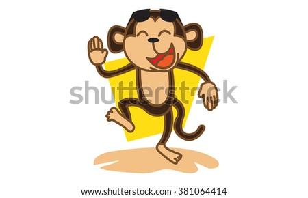 Monkey party - stock vector