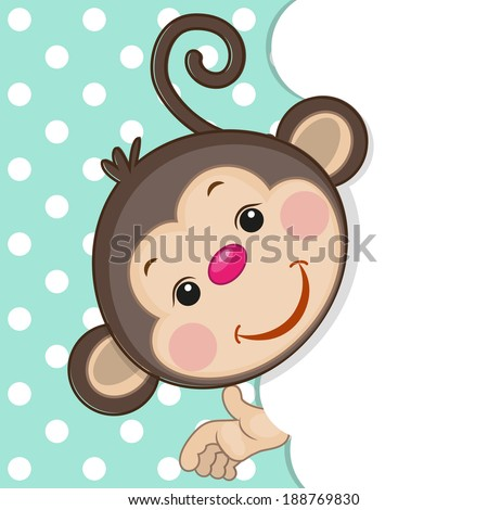 Monkey peeking out from behind the clouds - stock vector