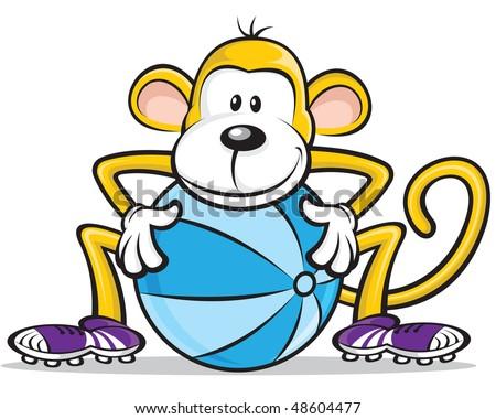 Monkey Player - stock vector