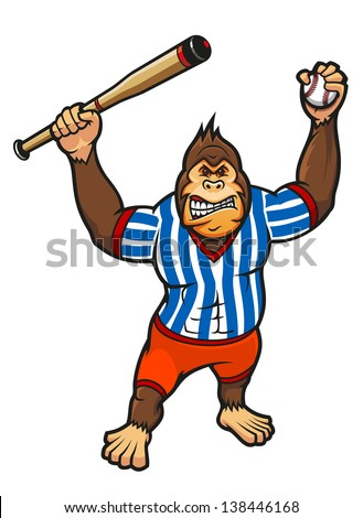 Monkey player with baseball elements for sport mascot design. Jpeg (bitmap) version also available in gallery - stock vector