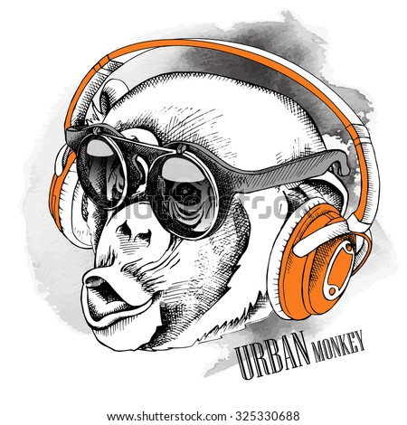 Monkey portrait in a Headphones and sunglasses. Vector illustration.