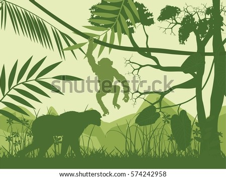 Monkey's vector silhouettes, green jungle silhouettes in background