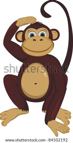 Monkey scratching a nape - stock vector