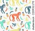 Monkey seamless pattern. Vector illustration. - stock vector