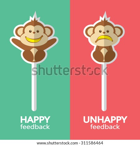 Monkey sign. Vector illustration of happy and unhappy feedback concept. Flat design. - stock vector