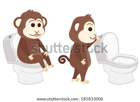 Monkey Sitting On The Toilet And Flush
