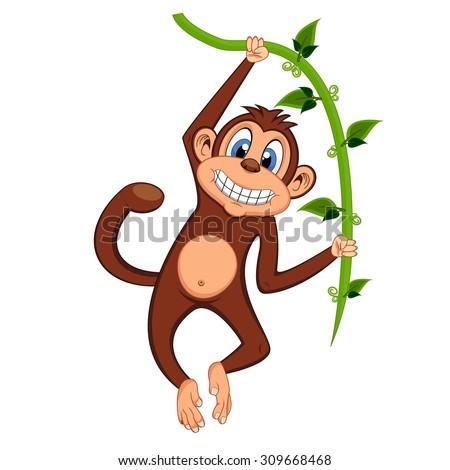 monkey swinging on vines - stock vector