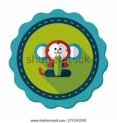 monkey toy flat icon with long shadow,eps10 - stock vector