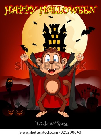 Monkey vampire with castle background for happy halloween vector illustration - stock vector