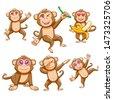 monkey vector set graphic...