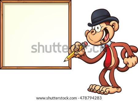 Monkey with a bowler hat and blank board. Vector clip art illustration with simple gradients. Monkey and board on separate layers.