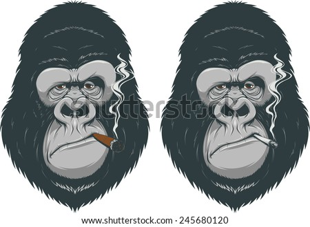 Monkey with a cigarette - stock vector