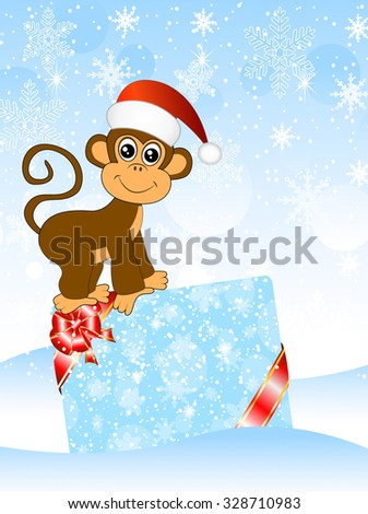 Monkey with a gift card, vector illustration