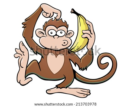Monkey with Banana Phone - stock vector