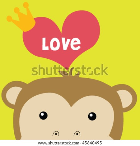 monkey with big love 6 - stock vector