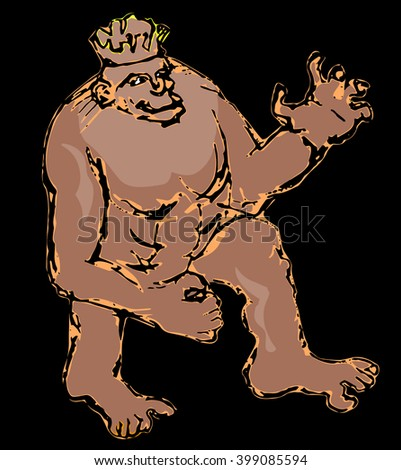 Monkey with crown as a king - stock vector