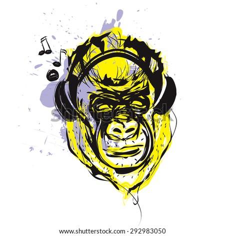 Monkey with headphones - stock vector