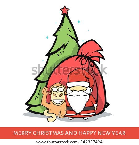 Monkey with Santa Claus, a fir-tree and a bag with gifts in doodle style. Festive card. design of congratulatory banners. Cartoon festive characters for 2016 year - stock vector