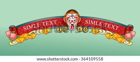 monkey year border - stock vector