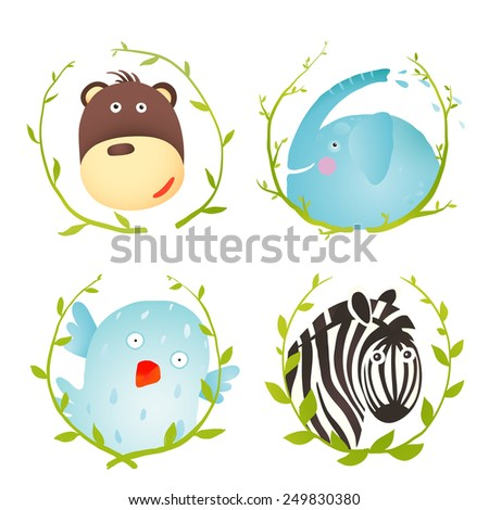 Monkey Zebra Elephant Bird Funny Cartoon Portraits. Brightly colored childish animals hand drawn. Vector illustration EPS10. - stock vector