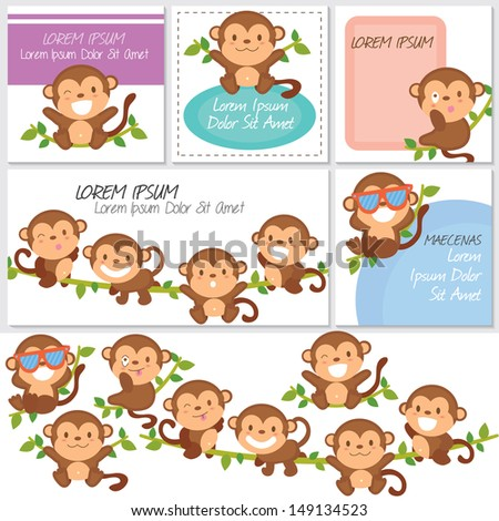 monkeys and friends digital set.
