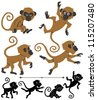 Monkeys: Cartoon monkey in 4 different poses. Below are silhouette versions of the same poses. No transparency and gradients used. - stock photo