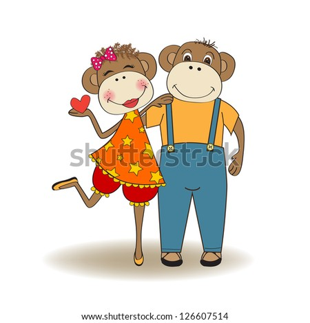monkeys couple in love, Valentine's day card - stock vector