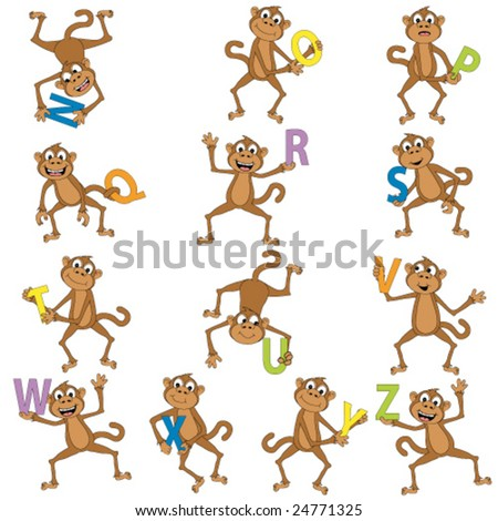 Monkeys holding the alphabet.