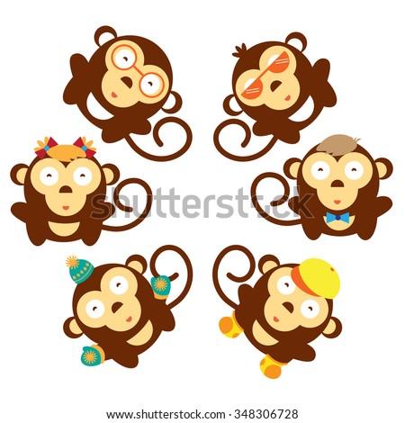 Monkeys icon set. Cartoon monkeys babies brown stand in a circle. Collections of funny animals in hat, glasses, footwear, gloves. Animal symbol of New Year - stock vector