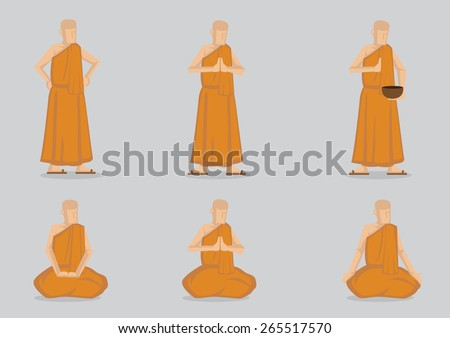 Monks wearing simple yellow robe saying prayer and meditating standing and in sitting positions. Set of six vector cartoon illustrations isolated on light grey plain background  - stock vector
