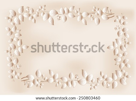 Mono?hrome frame from flowers and leaves. EPS10 vector illustration. - stock vector