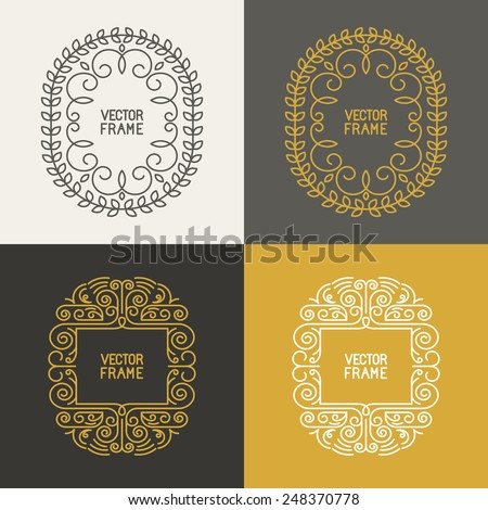 Mono line frames and borders - vector backgrounds with copy space for text - stock vector