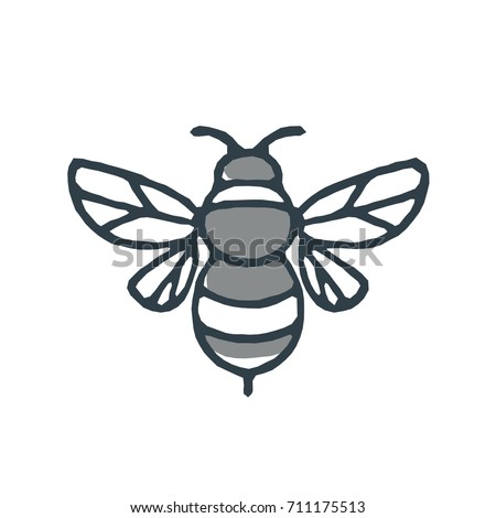 Mono Line Icon Style Illustration Of A Bumblebee Or Bumble Bee Member The