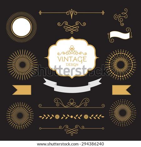 Mono line trendy vignettes, badges & ribbons set. Vector illustration. - stock vector