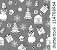 Monochromatic Christmas seamless pattern in simple style - stock vector
